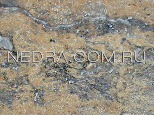 Травертин полированный темный залеченный цементом CC