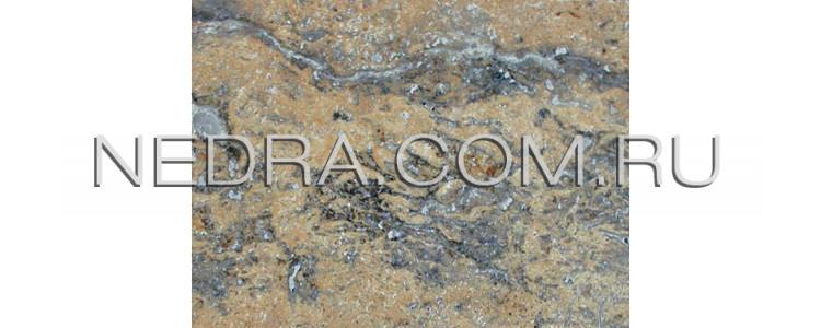 Травертин полированный темный залеченный цементом Cross cut
