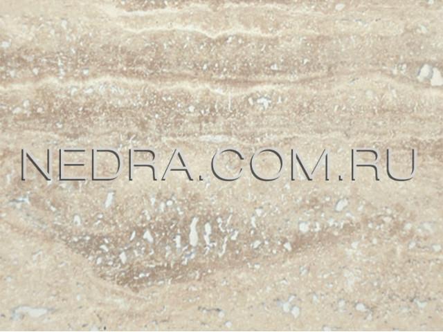 Травертин полуполированный светло-бежевый залеченый цементом