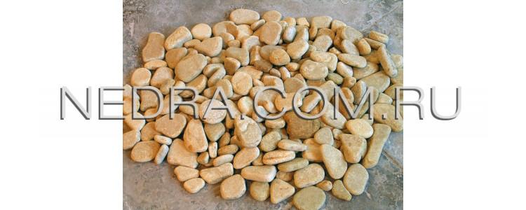 Купить гальку желтого цвета из природного камня песчаника