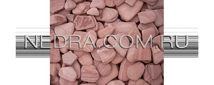 Галька красная галтованная от производителя из природного камня песчаника